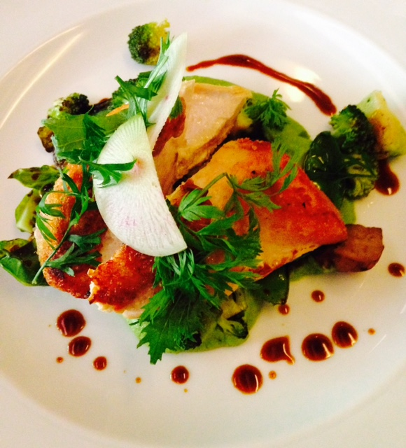 Chicken with broccoli puree
